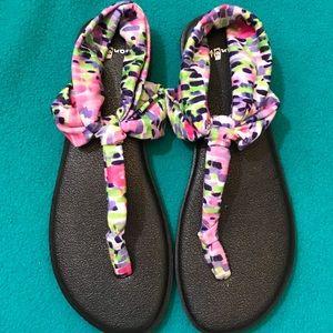 Sanuk Printed Yoga Sling Sandals Sz 8